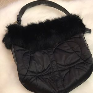 Only Today🖤RARE Coach quilted fur trim satchel
